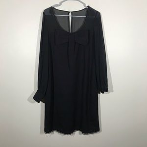 Kate Spade Black Long Sleeve Dress Bow In Front